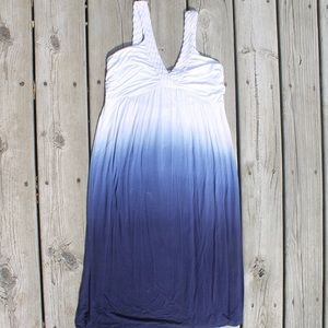 White Blue Small Ombré Tank Dress Ruched Braided